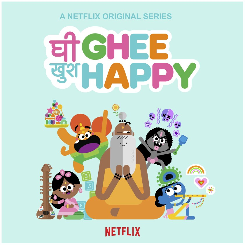 "Artwork from Netflix's new animated series, ""Ghee Happy."""