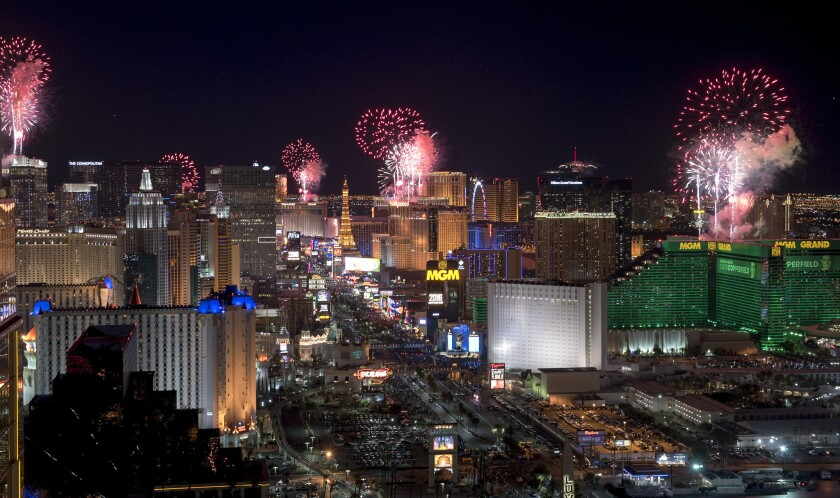 The Las Vegas Strip on New Year's Eve