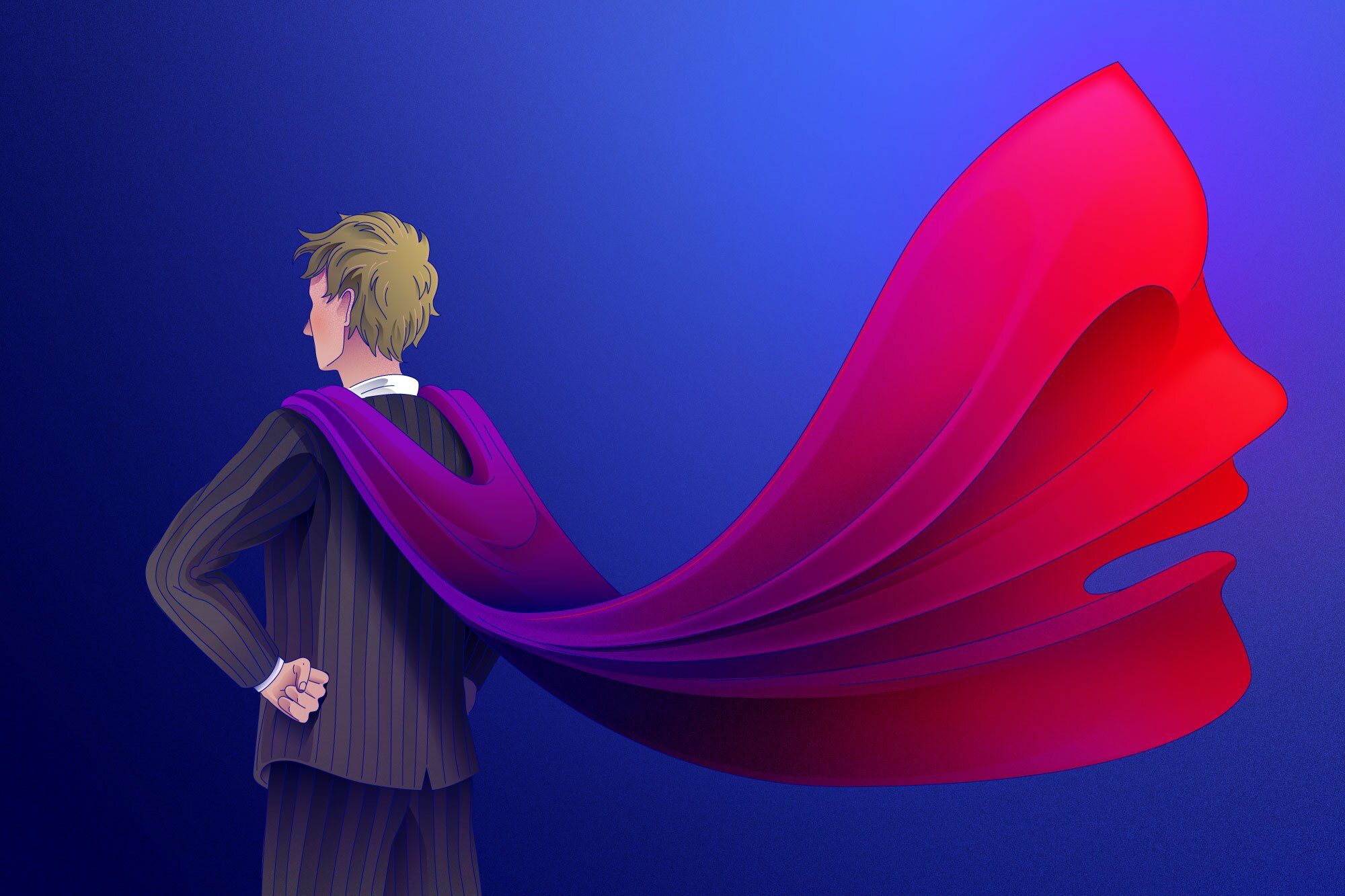 Illustration of talent agent wearing superhero cape with female silhouette
