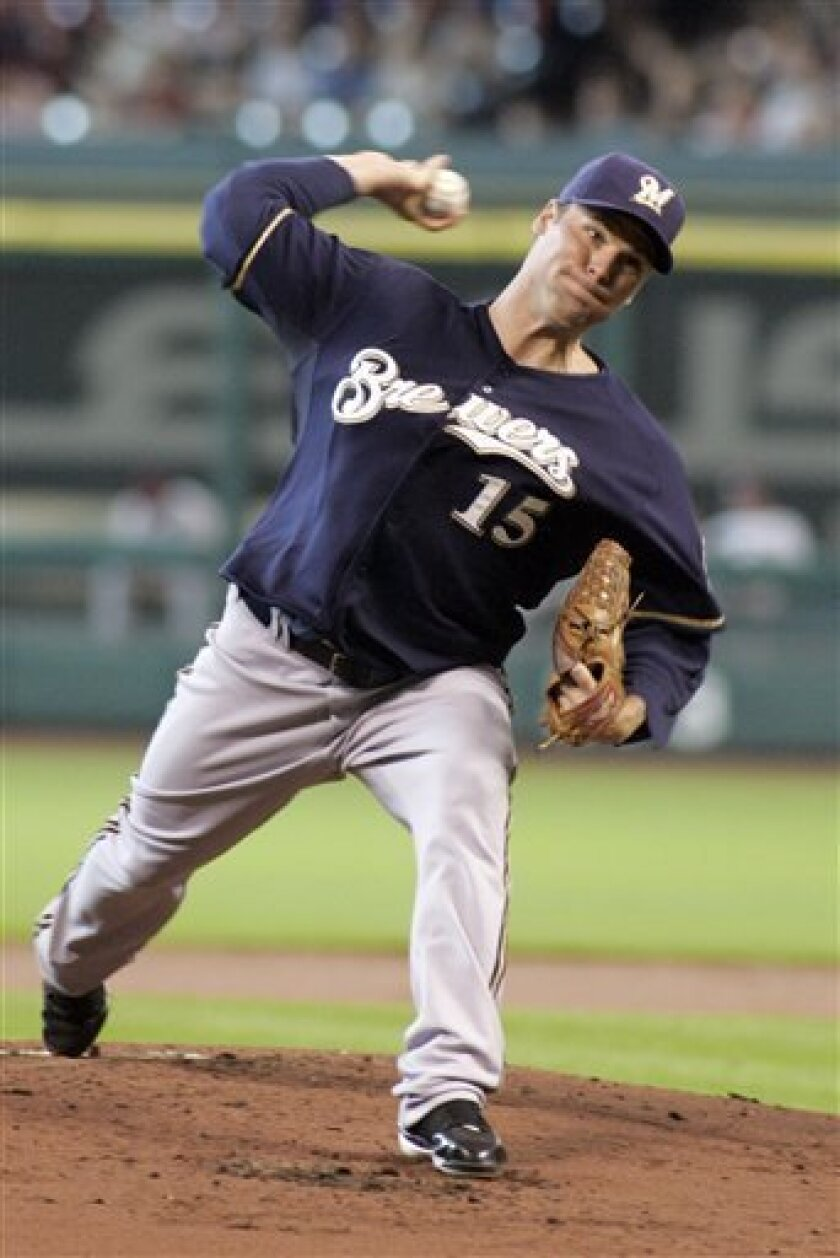 Milwaukee Brewers' Ben Sheets delivers a pitch in the first inning against the Houston Astros in a baseball game Thursday, June 12, 2008 in Houston. (AP Photo/Pat Sullivan)
