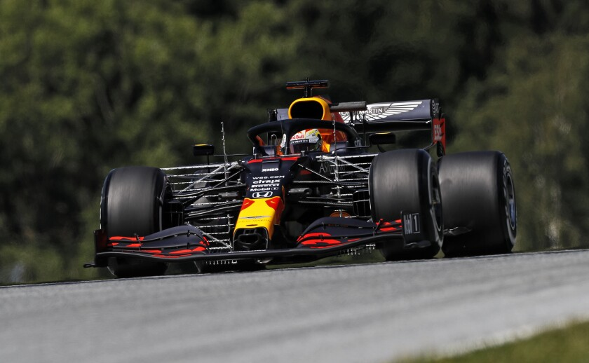 Red Bull driver Max Verstappen of the Netherlands steers his car during the first practice session for the Styrian Formula One Grand Prix at the Red Bull Ring racetrack in Spielberg, Austria, Friday, July 10, 2020. The Styrian F1 Grand Prix will be held on Sunday. (Leonhard Foeger/Pool via AP)