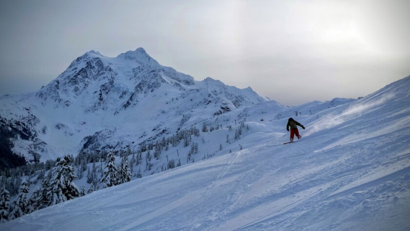 Skiers and snowboarders make their way down the Canyon, a narrow black-diamond drop at Mt. Baker Ski Area.