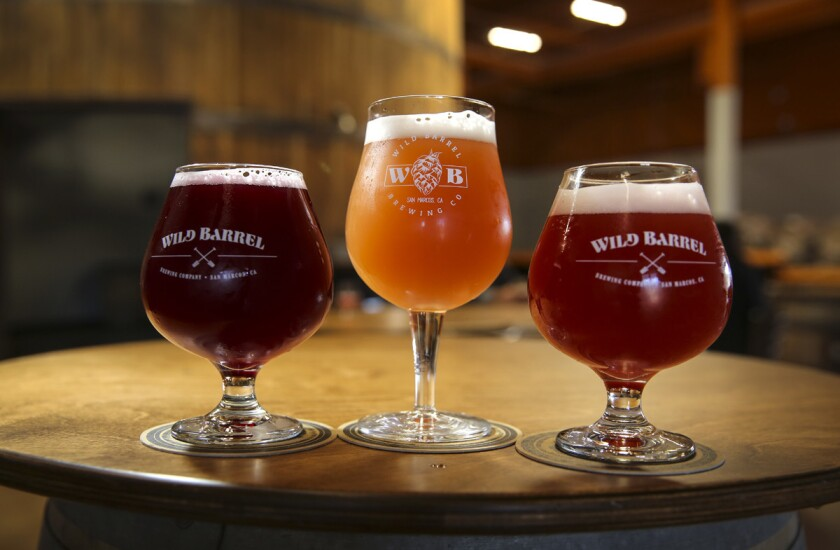 Oct. 5, 2017. San Marcos, CA. USA. |Wild Barrel Brewing beers left to right, San Diego Vice with Black Currant, San Diego Vice with Pink Guava, and San Diego Vice with Montmorency Cherries. |Photos by Jamie Scott Lytle. Copyright.