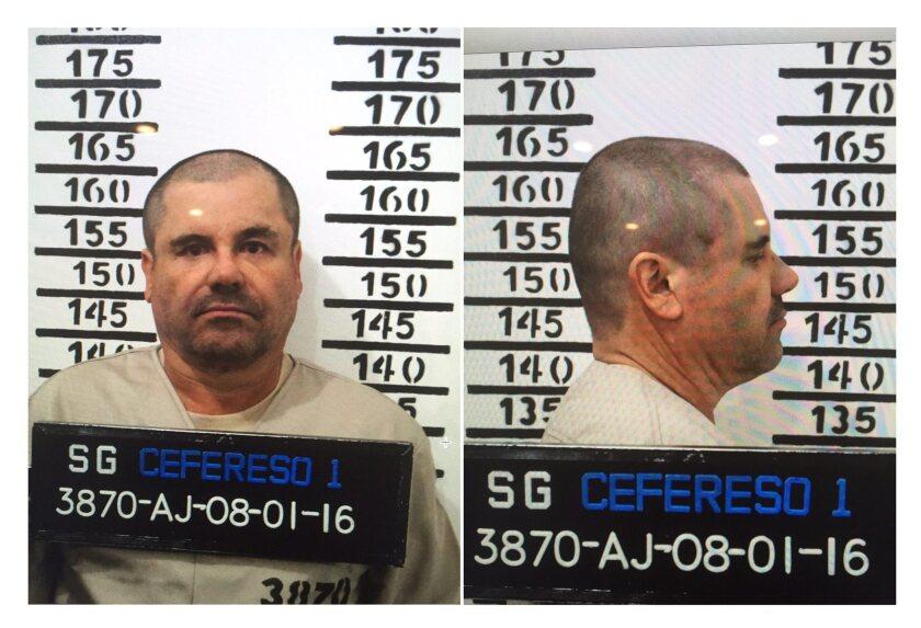 """Joaquin """"El Chapo"""" Guzman's booking photos."""