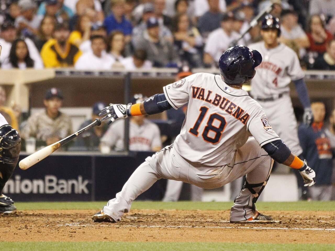 The Astros' Luis Valbuena falls after it appeared that he was hit by a pitch in the fifth inning. A replay also appeared to show that he was not hit. The Padres lost 14-3 at Petco Park in San Diego on Tuesday, April 28, 2015.