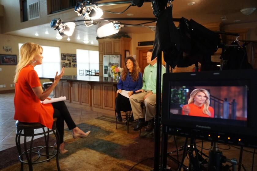 Megyn Kelly of Fox News interviews Jim Bob Duggar and Michelle Duggar at their home in Tontitown, Ark.