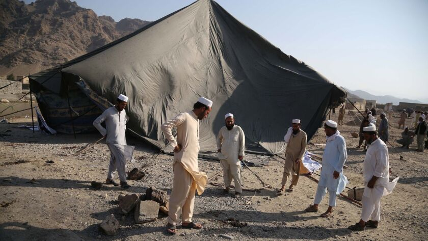 At least 30 people killed in suicide bombing targeting protesters, Mohmand Dara District, Afghanistan - 11 Sep 2018