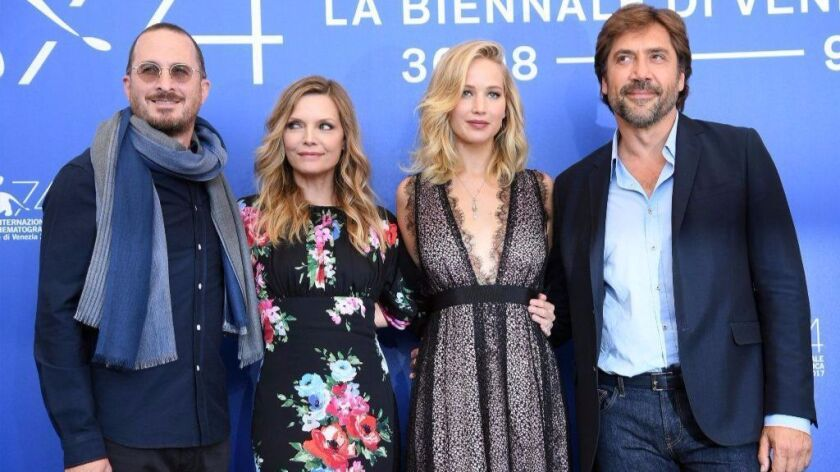 From left, director Darren Aronofsky, actresses Michelle Pfeiffer, Jennifer Lawrence and actor Javie