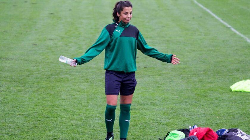 Danish national women's soccer team member Nadia Nadim after training in Dragor, outside Copenhagen