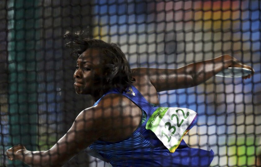 2016 Rio Olympics - Athletics - Preliminary - Women's Discus Throw Qualifying Round - Groups - Olympic Stadium - Rio de Janeiro, Brazil - 15/08/2016. Whitney Ashley (USA) of USA competes. REUTERS/Ivan Alvarado FOR EDITORIAL USE ONLY. NOT FOR SALE FOR MARKETING OR ADVERTISING CAMPAIGNS.   ** Usable