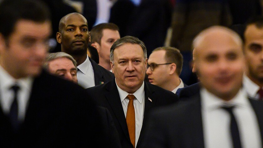 Secretary of State Michael R. Pompeo leaves the Cathedral of the Nativity of Christ in Egypt on Thursday.