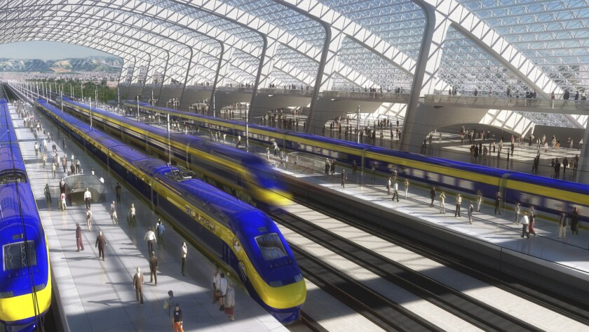 A station for the California high-speed-rail project is depicted in an artist's rendering. The 500-mile-long project advanced Tuesday when federal transportation officials approved more construction of track in the Central Valley.
