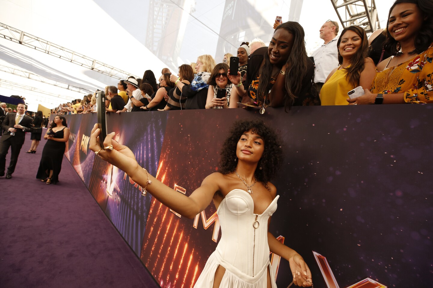 LOS ANGELES, CA., ÊÊSeptember 22, 2019:ÊIndya Moore arriving at the 71st Primetime Emmy Awards at the Microsoft TheaterÊin Los Angeles, CA. (Al Seib / Los Angeles Times)
