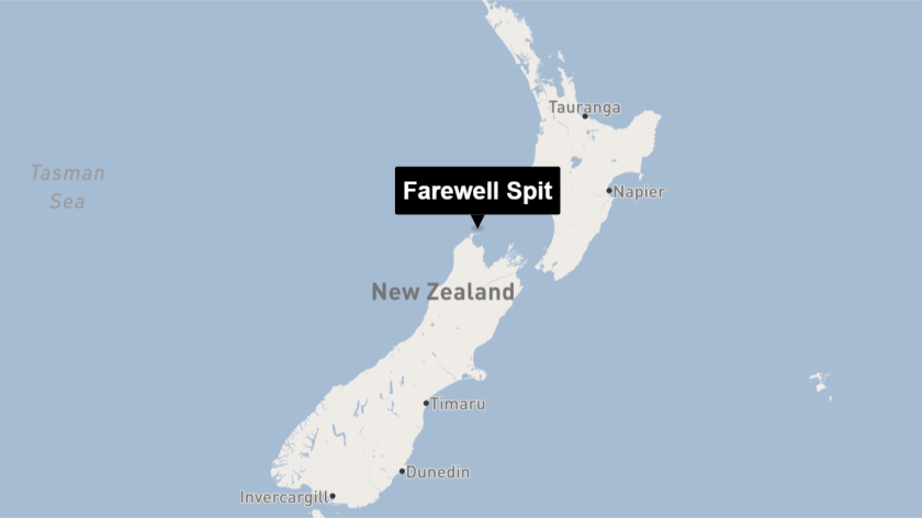 Farewell Spit is at the tip of the South Island.