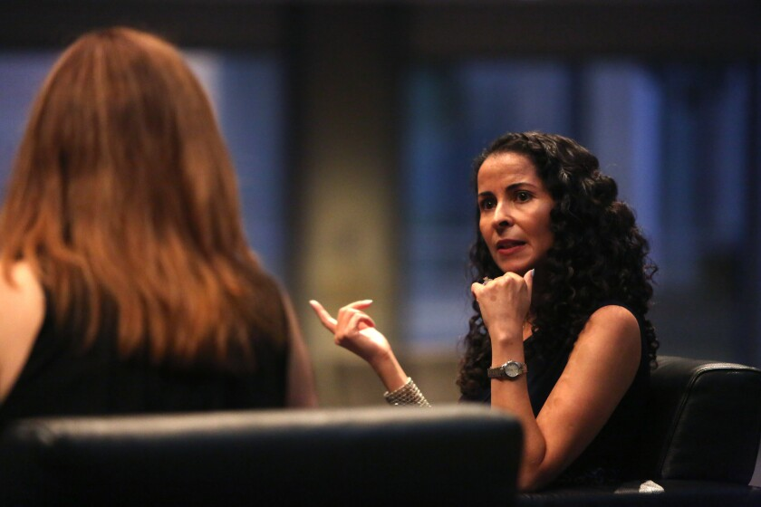 "Laila Lalami, right, speaks about ""The Other Americans"" with reporter Lorraine Ali at the Skirball Cultural Center."