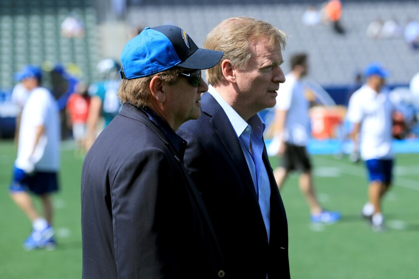 Chargers owner Dean Spanos (left) and NFL Commissioner Roger Goodell (left) at a game in Carson last year.