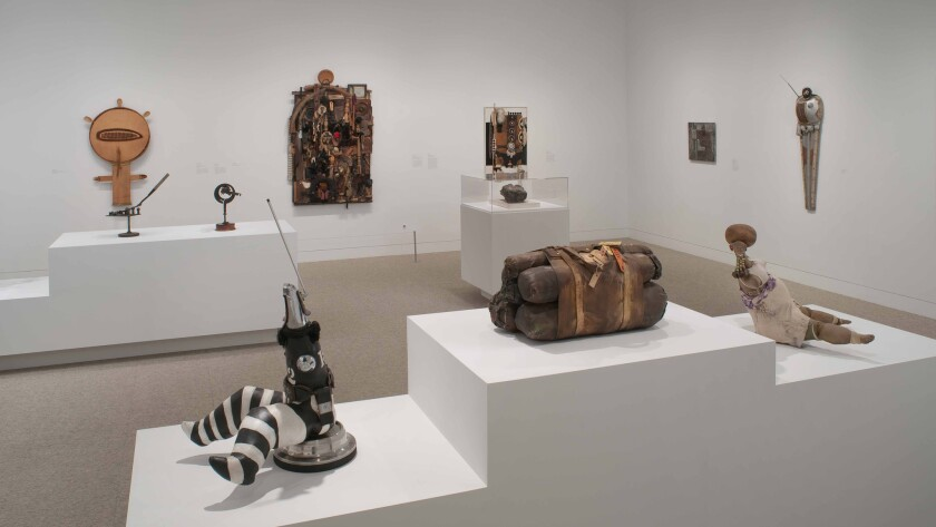 """Works by John Outterbridge, John Riddle and Noah Purifoy in """"Now Dig This!"""" at the Hammer Museum in 2011."""