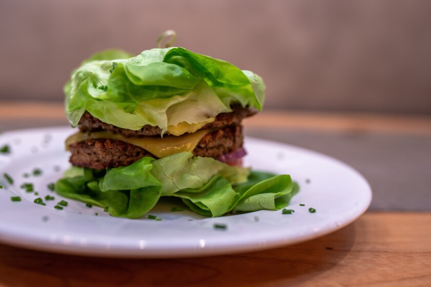 You can get this WhipHand vegan burger served on lettuce or on a vegan bun.
