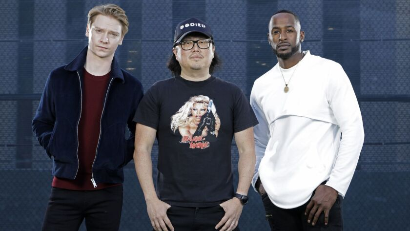 "CENTURY CITY, CA -- OCTOBER 18, 2018: Calum Worthy, Director Joseph Kahn and Jackie Long of ""Bodied,"
