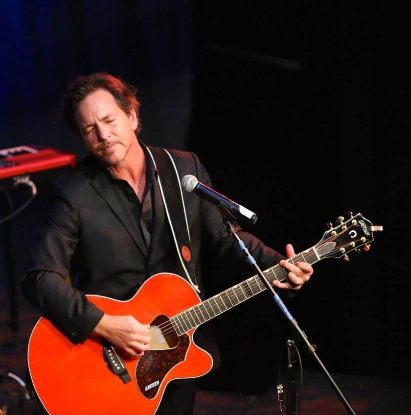 """Eddie Vedder returned to San Dieguito High School Academy, which he attended, to perform in a Feb. 20 alumni talent show. He sang a heartfelt, """"The Long Road,"""" which he wrote in honor of his late mentor and drama teacher Clayton Liggett."""