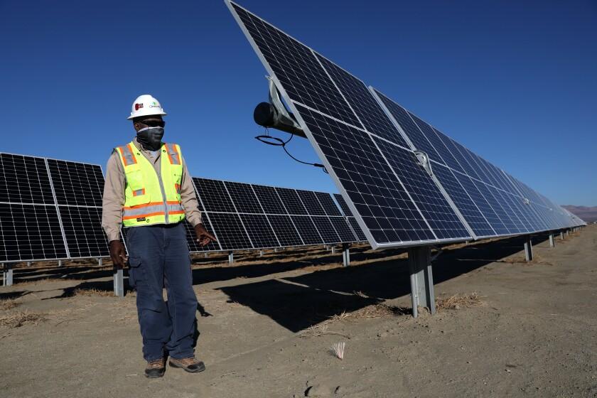 Solar panels at the 192-megawatt Rosamond Central solar farm in California's Kern County.