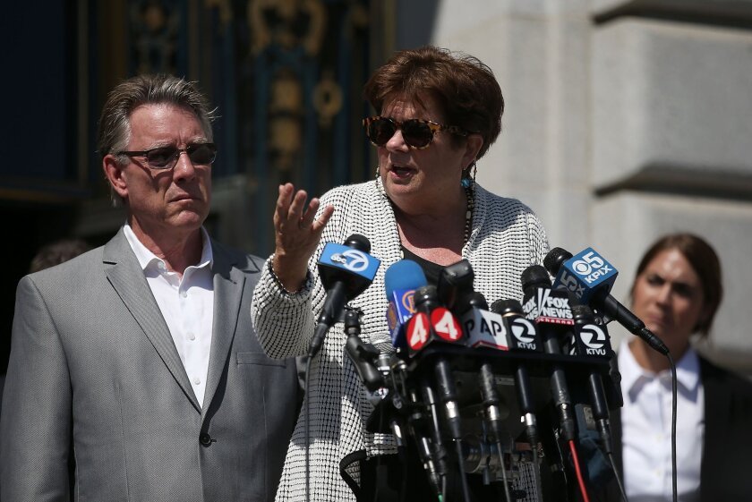 The famly of Kate Steinle, who was slain on July 1, 2015, by a five-time deportee, filed claims aginst the City and County of San Francisco, U.S. Immigration and Customs Enfocement and the U.S. Bureau of Land Management on Tuesday and held a news conference to discuss them.