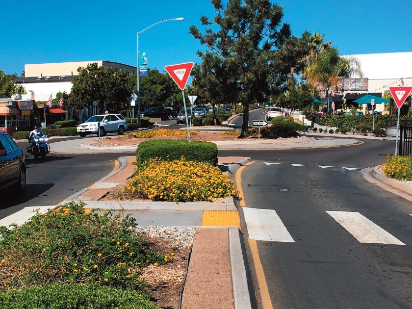 What could be so confusing about traversing this roundabout at La Jolla Boulevard and Midway Street?