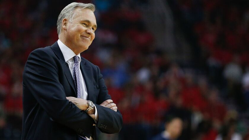 HOUSTON, TX - APRIL 16: Head coach Mike D'Antoni of the Houston Rockets looks on during Game One