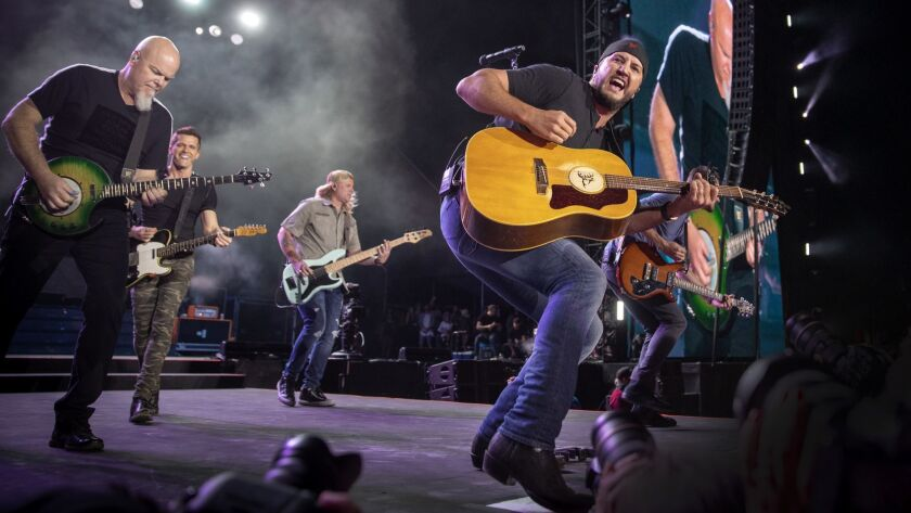 INDIO, CALIF. -- FRIDAY, APRIL 26, 2019: Luke Bryan and his band performs on the Mane Stage as he h