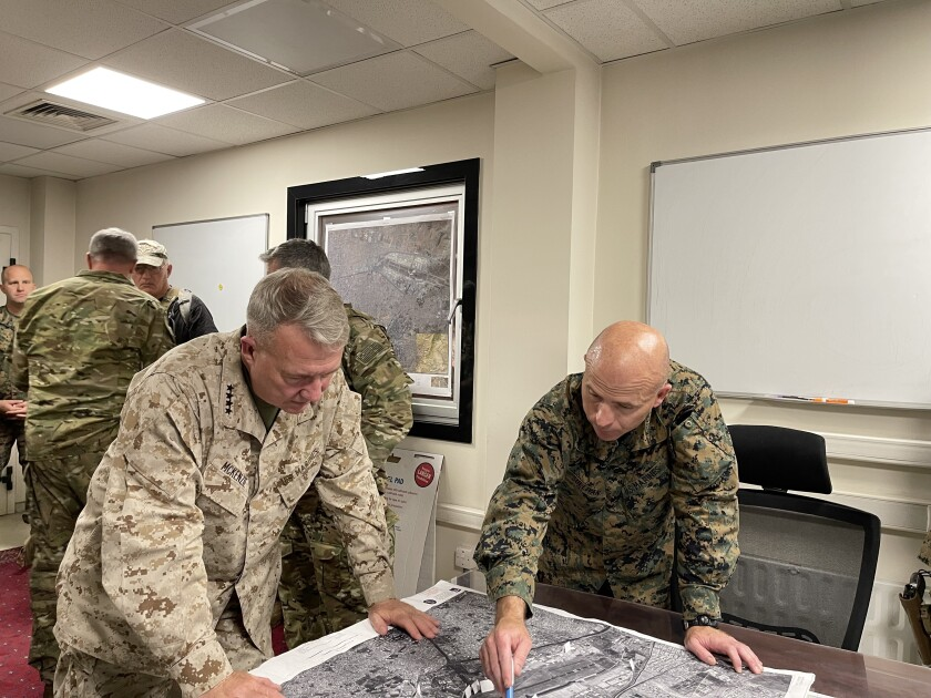 U.S. Marine Corps Gen. Frank McKenzie, the commander of U.S. Central Command, at Hamid Karzai International Airport.