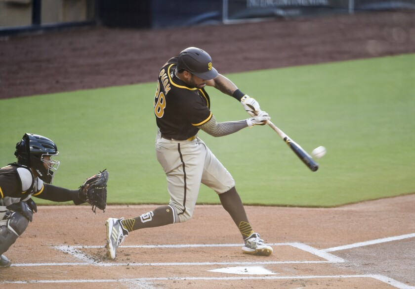 Padres' Tommy Pham hits a home run during intrasquad game Wednesday night at Petco Park.