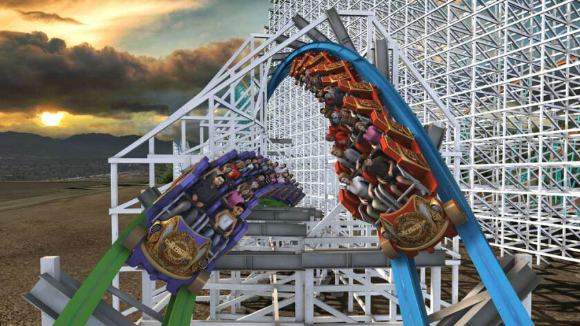 The twin trains of Twisted Colossus are designed to travel side by side at various stages of the new Six Flags Magic Mountain coaster.