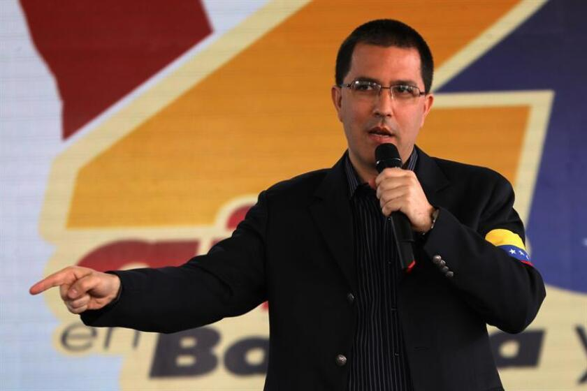 Venezuelan Foreign Minister Jorge Arreaza, seen here during a press conference in Caracas, said this Saturday that he has had at least two meetings with Elliot Abrams, designated by US President Donald Trump as a special United States envoy to Venezuela. EFE-EPA/Cristian Hernandez/File