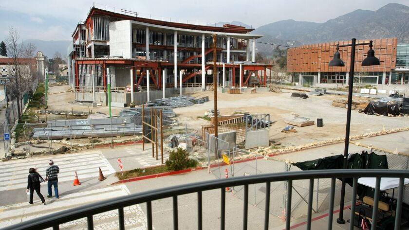 The Media Arts Building, left, shown under construction in 2012, alongside the completed Culinary Arts Institute, right, on the campus of Los Angeles Mission College in Sylmar. The campus is part of the Los Angeles Community College District.