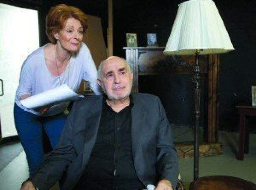 """Rosina Reynolds and Apollo Dukakis star in Lionel Goldstein's """"Mandate Memories"""" as two strangers who have more in common that they realize. Photo/Aaron Rumley"""
