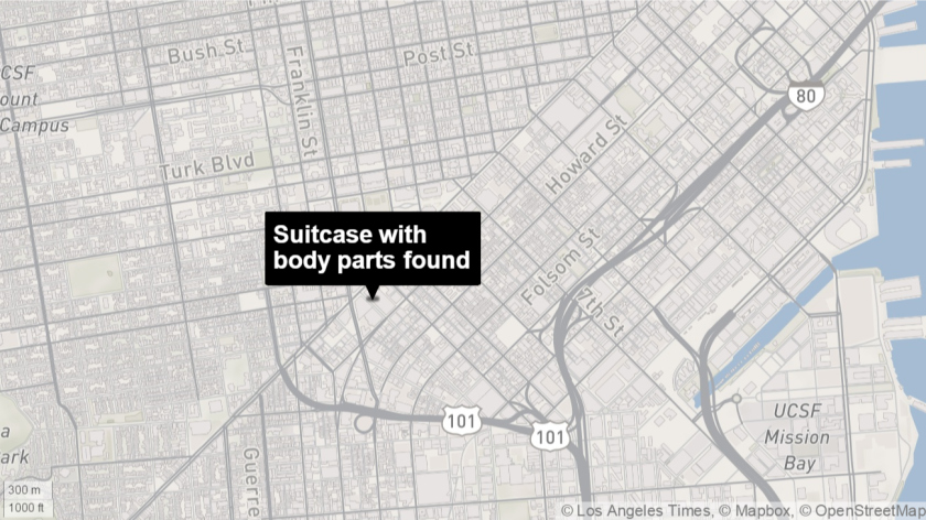 Suitcase with body parts found in San Francisco