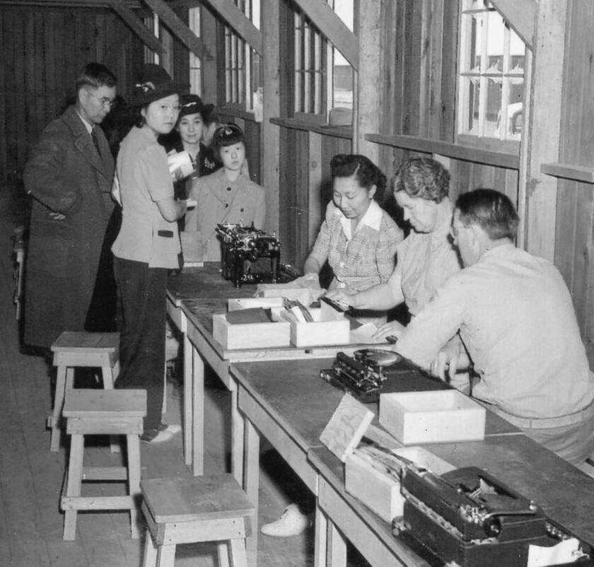"""Registration at the incarceration camp in Poston, Ariz., which detained most of the Japanese Americans living in Anaheim and Orange County, according to the organizers of the exhibit, """"I am an American: Japanese American Incarceration in a Time of Fear,"""" on view at Muzeo through Nov. 3."""