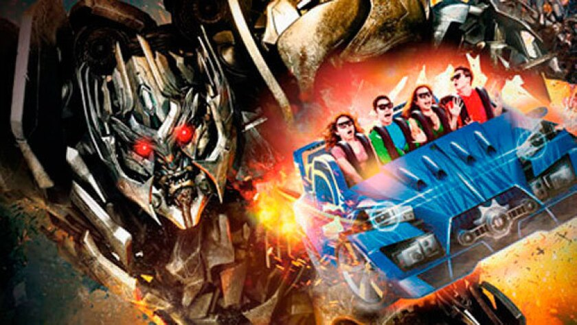 An artist's rendition of the Transformers ride at Universal Studios.