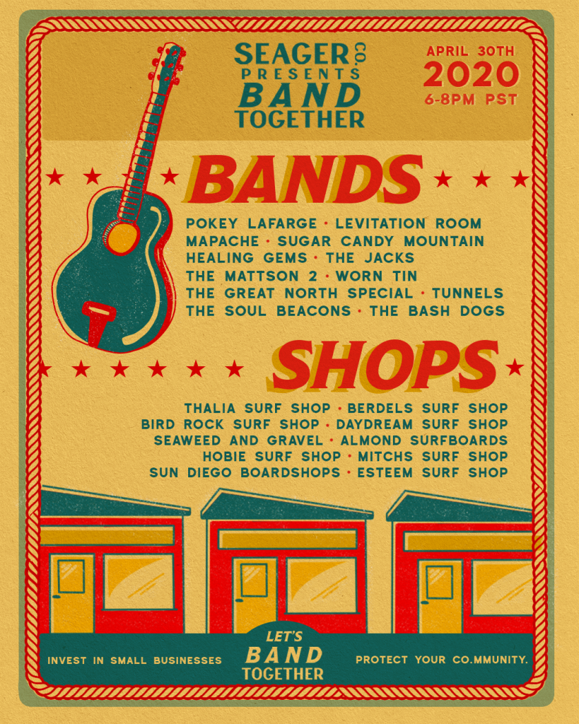 """The full lineup of musicians and surf shops participating in """"Band Together"""""""