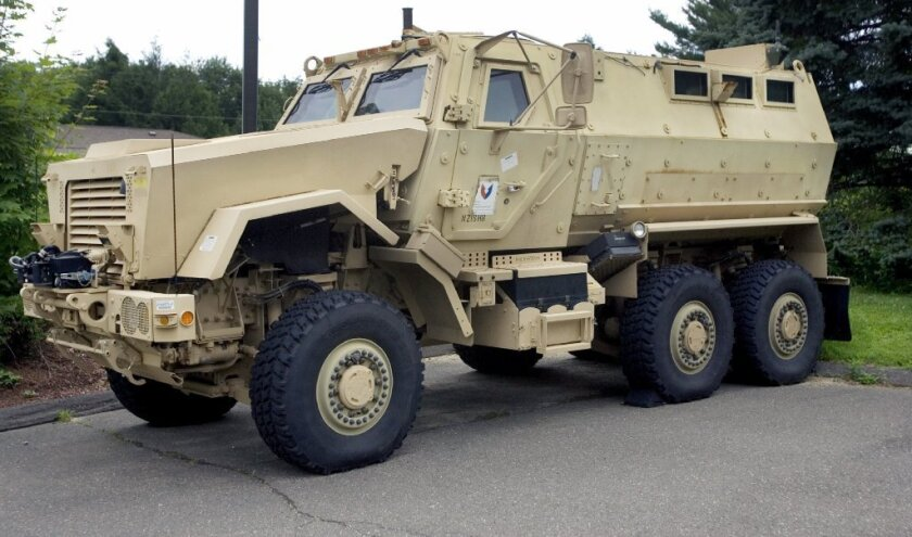 L.A. Unified's police department received a Mine-Resistant Ambush Protected vehicle like this one through a federal program.