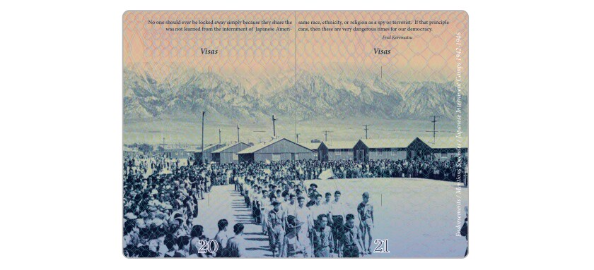 "Among the images in ""Passport"": a World War II-era incarceration camp that held  Japanese Americans."
