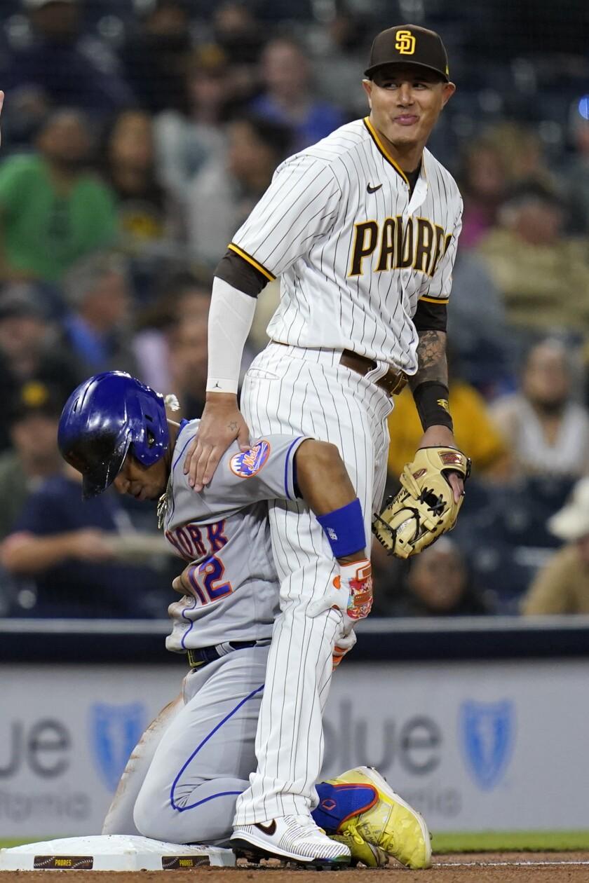 New York Mets' Francisco Lindor, Padres third baseman Manny Machado