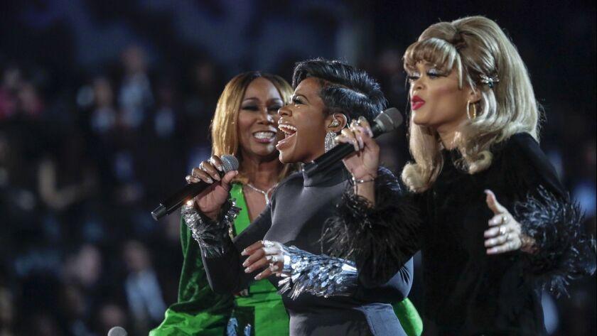 LOS ANGELES, CA - February 10, 2019 (L-R) Yolanda Adams, Fantasia Barrino and Andra Day perform onst