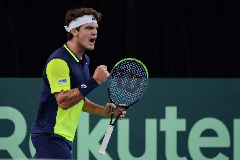 Thiago Seyboth Wild reacts during his Davis Cup qualifying tie against Australia in Adelaide, Australia on March 6.