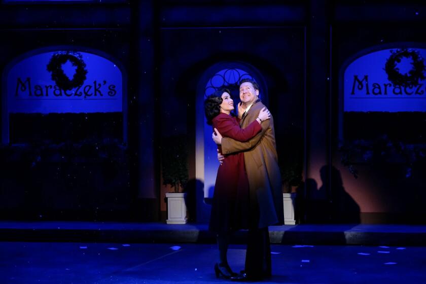 "Allison Spratt Pearce and Joshua David Cavanaugh in San Diego Musical Theatre's ""She Loves Me."""