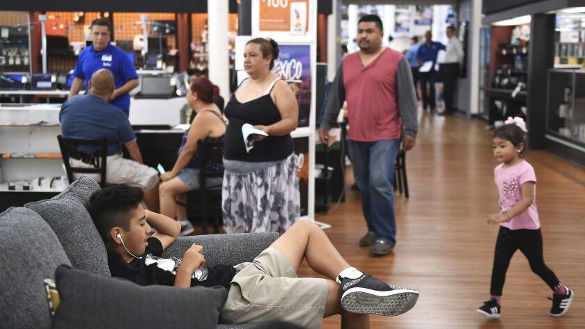 Shoppers inside Dearden's in downtown Los Angeles.