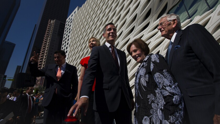 From left, Los Angeles City Councilman Jose Huizar, the Broad founding director Joanne Heyler, and Los Angeles Mayor Eric Garcetti are among those who joined Eli and Edythe Broad at the civic dedication and ribbon cutting to celebrate the opening of the Broad.