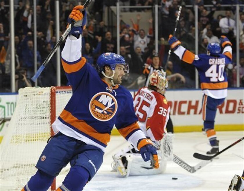 New York Islanders' Colin McDonald, left, and Michael Grabner, right, celebrate Grabner's goal on Florida Panthers goalie Jacob Markstrom (35) in the second period of an NHL hockey game on Tuesday, April 16, 2013, at Nassau Coliseum in Uniondale, N.Y. (AP Photo/Kathy Kmonicek)