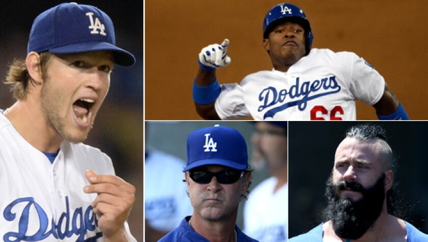 The Dodgers are the odds-on favorite to win the World Series in 2014 thanks to a steady roster which features (clockwise from left) Clayton Kershaw, Yasiel Puig and Brian Wilson. Can Manager Don Mattingly (bottom center) guide the team to its first World Series title since 1988?