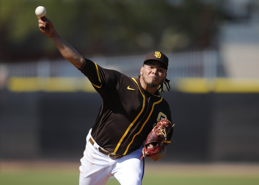 Dinelson Lamet pitches during a Padres spring training workout.